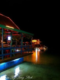 Karel's Beach Bar at night, Bonaire.