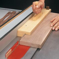 Cutting smooth, consistent thin strips is a challenge. This handy push block makes the process safer and more accurate. Woodworking Jigsaw, Used Woodworking Tools, Woodworking Patterns, Popular Woodworking, Woodworking Techniques, Woodworking Furniture, Custom Woodworking, Woodworking Projects Plans, Woodworking Classes