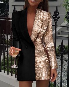 Women Sequined Patchwork Blazer Dress Colorblock Sequins Long Sleeve Dress Elegant Buttoned Turn Down Collar Office Dresses, Black / XL Trend Fashion, Look Fashion, Womens Fashion, Fashion Coat, Ny Fashion, Fashion Online, Sequin Blazer, Blazer Dress, Sleevless Blazer