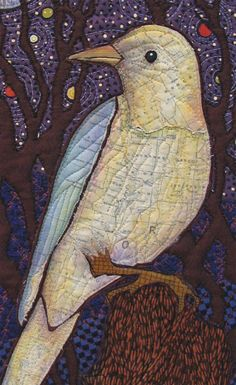 The Inner Map quilt by Terry Grant. Bird's breast and wing are from fabric made of a map of Oregon. my sister lived in Oregon! Map Quilt, Bird Quilt, Patch Quilt, Applique Quilts, Fabric Birds, Fabric Art, Vogel Quilt, Landscape Art Quilts, Embroidered Bird