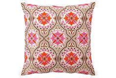 Xavier 18x18 Embroidered Pillow, Pink on OneKingsLane.com