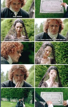 """If we must bury you here, in France... Let's leave a wee bit of Scotland with you"" - Jamie and Claire, saying goodbye to Faith :( #Outlander"