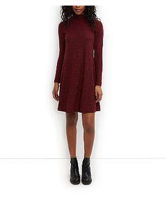 Burgundy Ribbed Funnel Neck Long Sleeve Swing Dress  | New Look