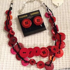 Red Button Necklace by BornAgainButtons on Etsy, $20.00
