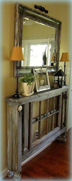 *Rustic decor for small entry way of home.