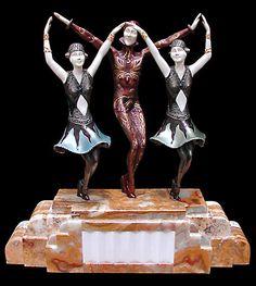 """6392 Beautiful Art Deco Sculpture """"Finale"""" by Demetre Chiparus."""