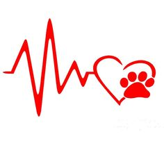 Heart Beat Paw Print Art Car Sticker