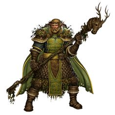 Male Elf Elder Druid With Staff - Pathfinder PFRPG DND D&D 3.5 5th ed d20 fantasy