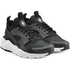 Nike Air Huarache Ultra Sneakers ($169) ❤ liked on Polyvore featuring shoes, sneakers, black, black slip-on sneakers, black slip on sneakers, slip on shoes, black trainers and black lace up shoes