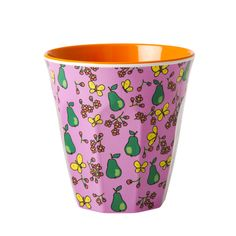 RICE Melamine Cup in Pear .. Lovely Bubblegum Pink, with Pears, Butterflies and flowers, with Orange inner  £4.30