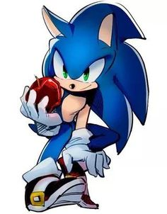 Sonic The Hedgehog with an apple. Hey! When you run that fast, you probably need a lot of nutrition. Chili dogs aren't enough