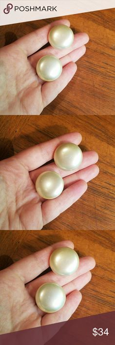Vintage Marvella Faux Pearl Clip-On Earrings So pretty! Bought at an estate sale! Marked Marvella. Never tried to clean, small amount of green rust into the back but not noticable when wearing Vintage Jewelry Earrings