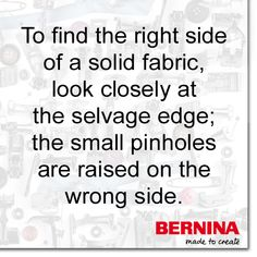 sewing tips helpful hints Do you ever have a hard time identifying which side is the front of a solid colored piece of fabric? Quilting Tips, Quilting Tutorials, Sewing Tutorials, Sewing Patterns, Sewing Projects, Quilt Patterns, Sewing Crafts, Sewing Basics, Sewing For Beginners