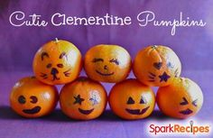 What a cute, easy and fun idea for a Halloween treat for kids: Draw pumpkin or jack-o-lantern faces right onto a cutie/clementine with a Sharpie marker! A fun addition to school lunch on/around Halloween, or perfect for a little party favor that isn't full of sugar.