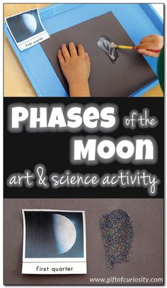 Phases of the moon art and science activity. What a fun idea for teaching kids about the moon! I'm going to have to try this out! || Gift of Curiosity