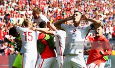 Robert Lewandowski and Poland players celebrate their win infront of the Switzerland supporters after the UEFA EURO 2016 round of 16 match between Switzerland and Poland at Stade Geoffroy-Guichard on June 25, 2016 in Saint-Etienne, France.