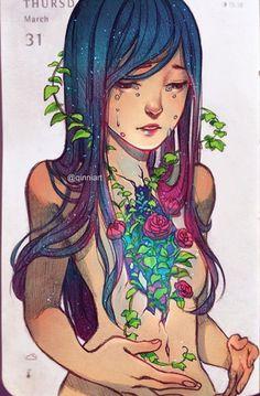 Ellihana Grey by qinni art Amazing Drawings, Amazing Art, Art Drawings, Illustrations, Illustration Art, Qinni, Street Art, Love Art, Bunt