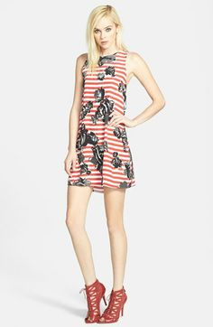 Wayf Floral Stripe Crepe Shift Dress available at #Nordstrom