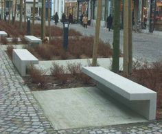 Concrete bench city park. Lovely conceptualization of the benches set within a…