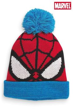 Spider-Man™ Pom Pom Beanie from Next Boys Winter Clothes, Christian Clothing, My Boys, Kids Fashion, Winter Hats, Beanie, Cute, Fashion Trends, Style