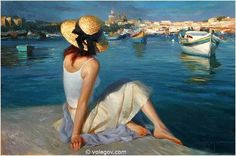 AT MARSAXLOKK, painting, Vladimir Volegov