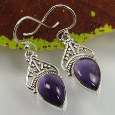 925 Sterling Silver Natural AMETHYST Gemstones Handmade Art Earrings ! Best Gift #Unbranded #DropDangle