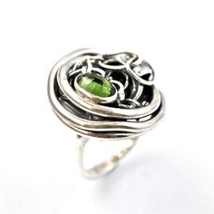 Green Tourmaline Ring Recycled Silver Jewelry Artisan by AlexAirey, $319.00