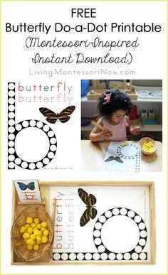 Free Butterfly Do-a-Dot Printable (Montessori-Inspired Instant Download) - LivingMontessoriNow.com