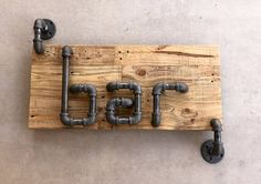 Industrial Style Steel Pipe Bar Sign Made With Rustic