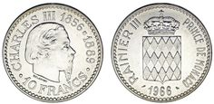 10 SILVER FRANCS/10 FRANCOS PLATA. MÓNACO 1966. CORONATION CHARLES III. UNC/SC.