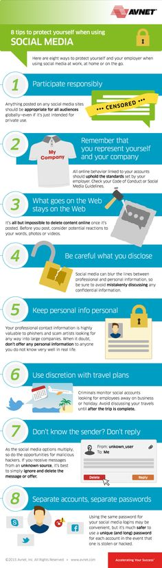 8 tips to ptotect yourself when using Social Media #INFOGRAPHIC #SOCIALMEDIA