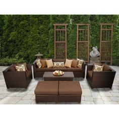 TK Classics Barbados 8 Piece Deep Seating Group with Cushion Fabric: