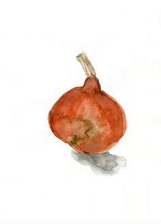 Wee Pumpkin, Gourd original watercolor painting still life botanical , Halloween, autumn