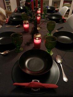 halloween weiberabend grabkerzen mont fleuri Gläser butlers Schallplatten schwarz grau tischdeko