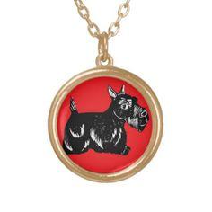 Scottie Dog with Red Necklace; Abigail Davidson Art