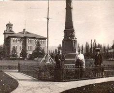 Old Hamilton School behind the Pioneer Monument in Mt. Pleasant, Utah.