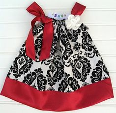 Red Damask Pillowcase Dress Available 03 by BabyThreadsByLiz, $28.00......for Gam's wedding?