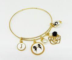 Charm Bracelets – Bangle this charm kameliya, locket bow – a unique product by birdofparadise97 on DaWanda