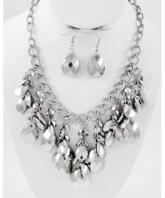 429560 Rhodiumized / Silver Ccb (bead) / Lead&nickel Compliant / Cluster Style / Necklace & Fish Hook Earring Set