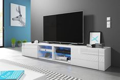 Elegant TV Stand for TVs up to Selsey Living Colour: Sonoma oak and a white high-gloss finish Led Tv Stand, Tv Stand Set, Floating Tv Stand, Tv Unit Design, Tv Wall Design, Adjustable Shelving, Open Shelving, Wall Mounted Media Console, Console Tv