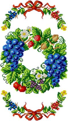 Diy Bead Embroidery, Cross Stitch Embroidery, Cross Stitch Fruit, Beaded Cross, Counted Cross Stitch Patterns, Needlepoint, Needlework, Diy And Crafts, Floral Wreath