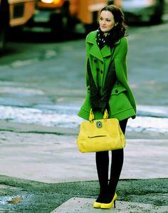 Blair Waldorf, green coat, yellow accessories and polka dot scarf