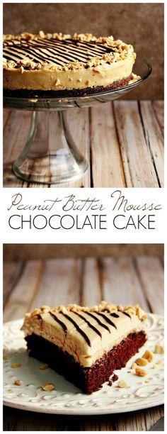 Peanut Butter Mousse Chocolate Cake - rich and moist chocolate cake with creamy peanut butter mousse that melt's in your mouth!