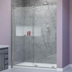 DreamLine Mirage-X 44 in. to 48 in. x 72 in. Semi-Frameless Sliding Shower Door in Brushed Nickel-D1948723L-04 - The Home Depot