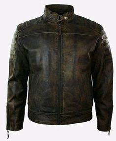 Mens Retro Vintage Biker Motorcycle Jacket Distressed brown Leather jacket #Handmade #Motorcycle