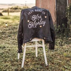 The Coolest Way to Cover Up on Your Wedding Day? A Biker Jacket, of Course Classic Leather, Leather And Lace, Short Bride, Just Married, On Your Wedding Day, Bridal Style, Hand Painted, Cool Stuff, How To Wear