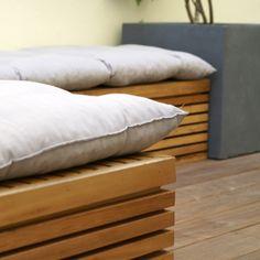 wood bench Palette, Bed Pillows, Pillow Cases, Bench, Wood, Design, Garden Landscaping, Atelier, Woodwind Instrument