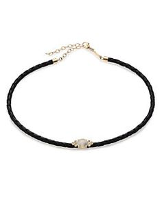 Jacquie Aiche - Moonstone, Diamond, 14K Yellow Gold & Leather Braided Choker Necklace