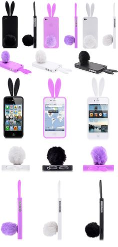 Bunny ears iPhone 4 cases - pink, white and black funny iPhone 4 case http://www.iphone-5case.com/