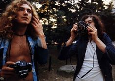 Jimmy Page photographing & Robert Plant Led Zeppelin